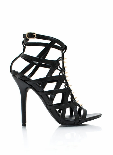 Cage Match Strappy Spiked Heels