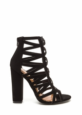 Caged Fighter Faux Nubuck Heels
