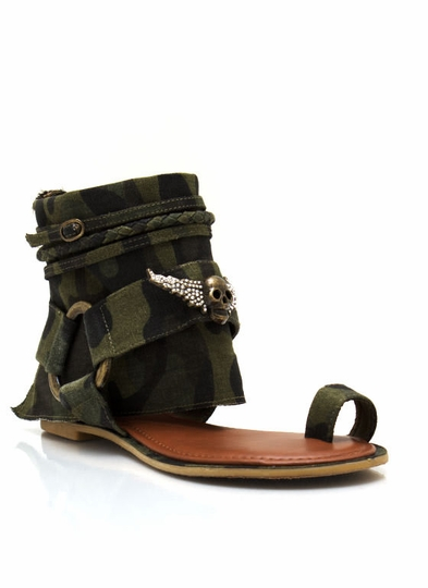 Camo Ankle Wrap Sandals