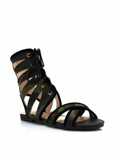 Camo Cut-Out Lace-Up Sandals