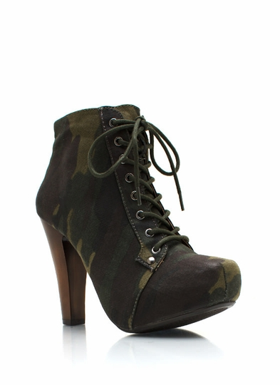 Camo Lace-Up Booties