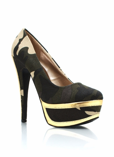 Camo Metallic Accent Platform Pumps