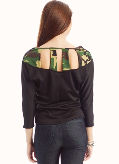Camouflage Cut-Out Dolman Top