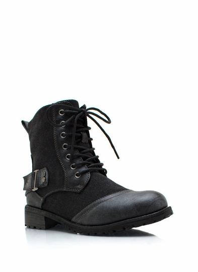 Canvas Buckle Back Combat Boots