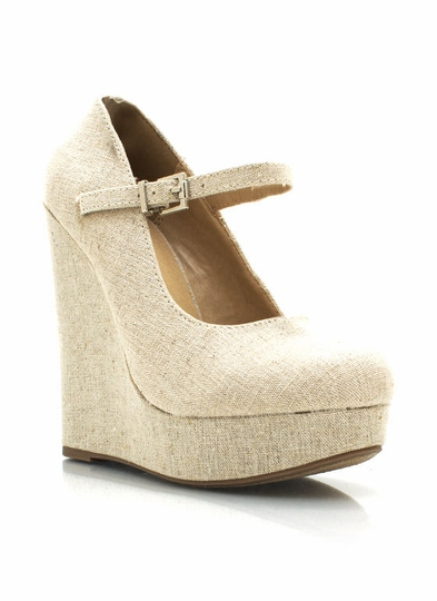 Canvas Mary Jane Wedges