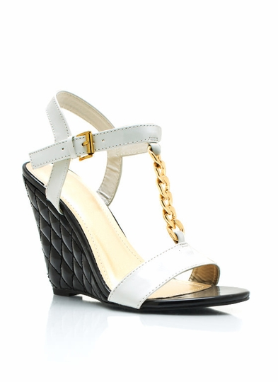 Chain Accent Quilted Patent Wedges