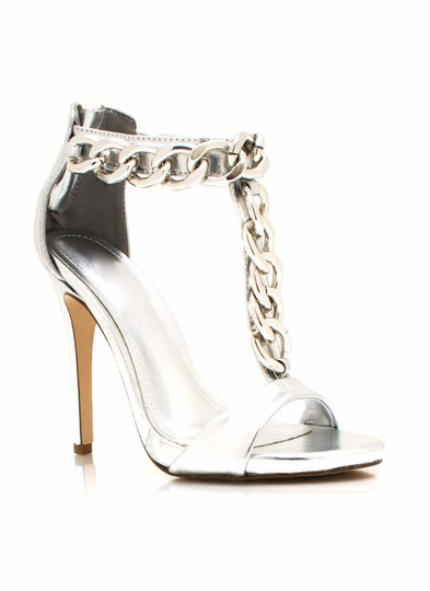 Chain-ing Day Metallic T-Strap Heels