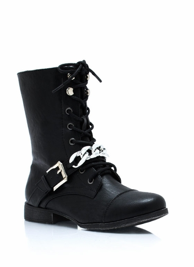 Chain It Up Lace-Up Boots