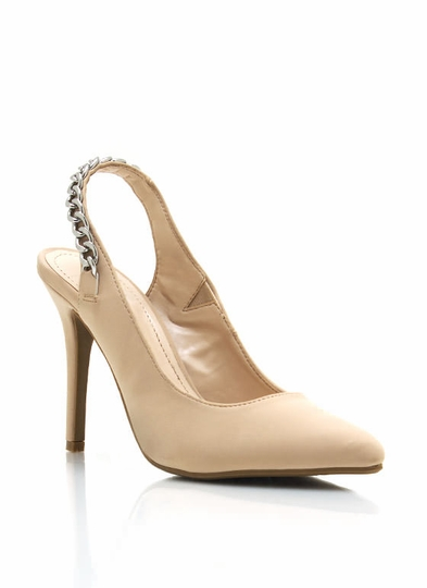 Chain Slingback Pointy Toe Pumps