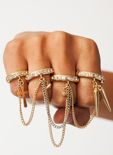 Charm-Ing Chained Ring Set