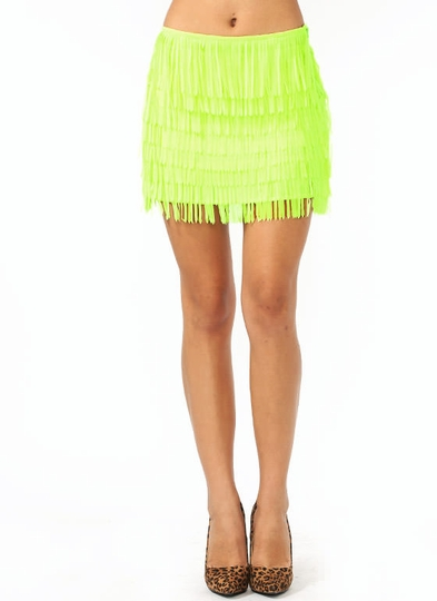 Chiffon Fringe Mini Skirt