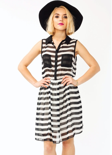 Chiffon Striped Collared Dress