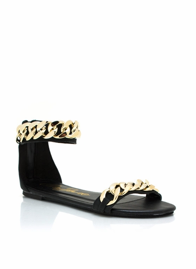 Chunky Chain Ankle Strap Sandals