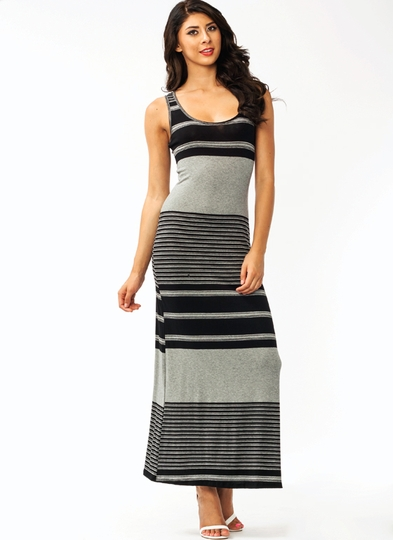 Circle And Stripes Maxi Dress