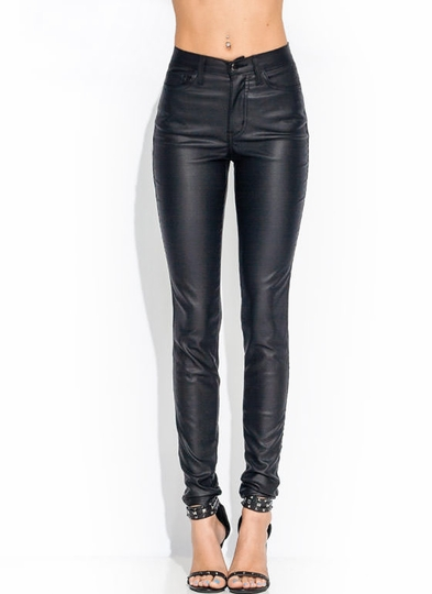 Coated High-Waisted Jeans