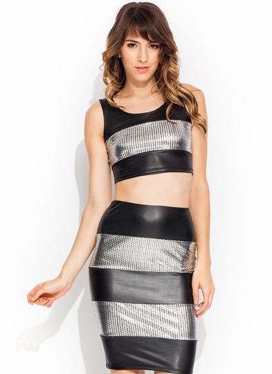 Coated Spangles Cropped Top