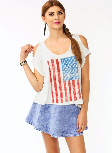 Cold Shoulder American Flag Graphic Top