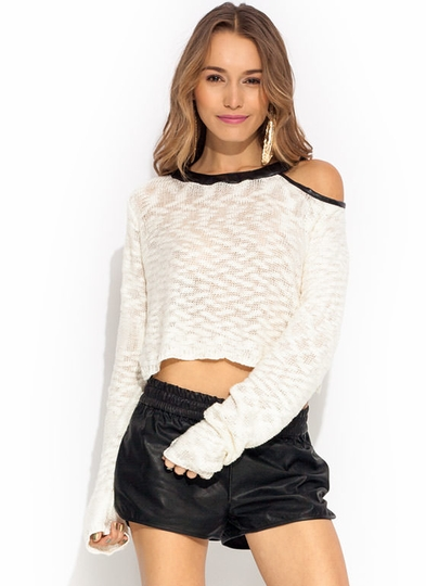 Cold Shoulder Cropped Sweater