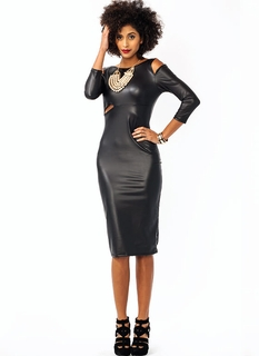 Cold Shoulder Faux Leather Dress