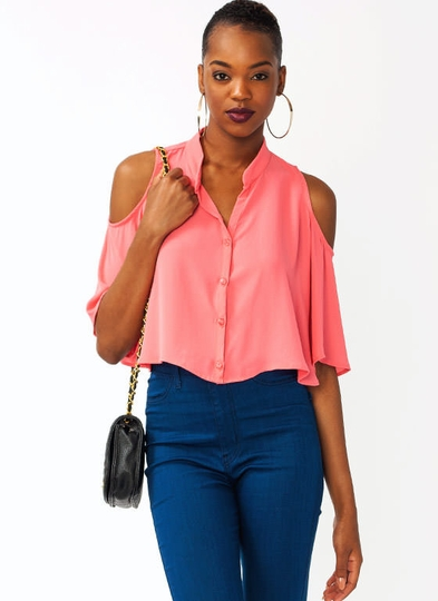 Cold Shoulder Georgette Cropped Top