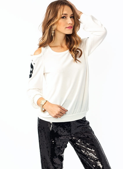 Cold Shoulder Knit Skull Top