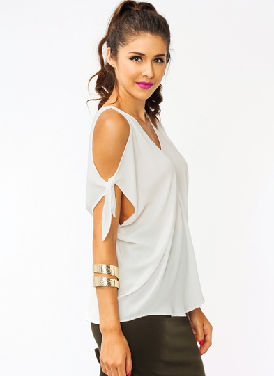 Cold Shoulder Tied Top