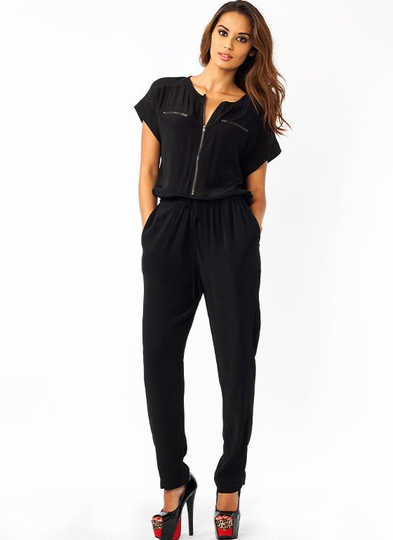 Collarless Zippy Jumpsuit