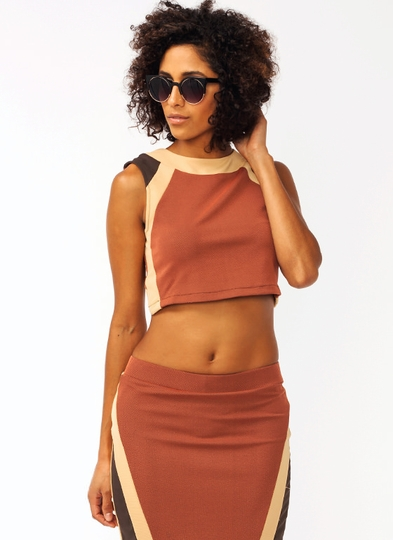 Colorblock Cropped Top