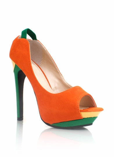 Colorblock Peep-Toe Heels