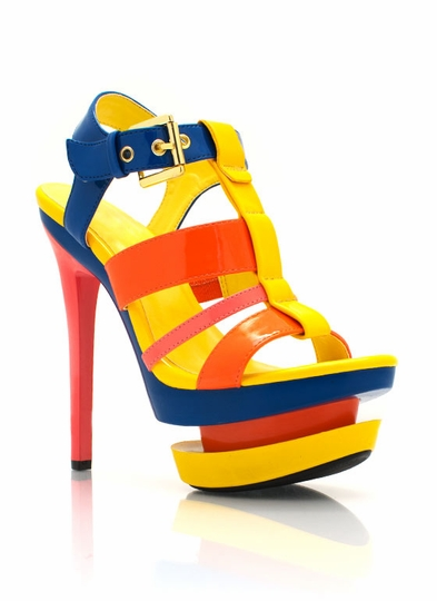 Colorblock Strappy Platform Heels