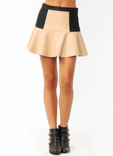 Colorblocked Flared Mini Skirt