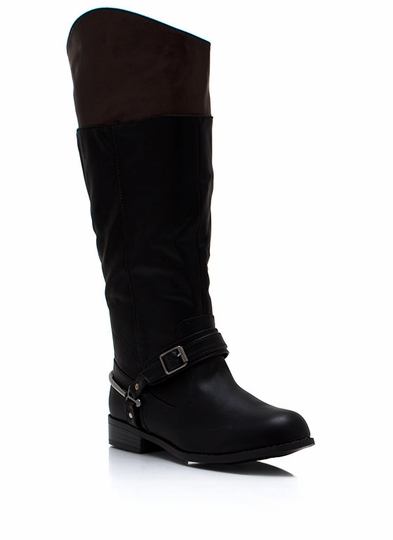 Contrast Buckled Riding Boots