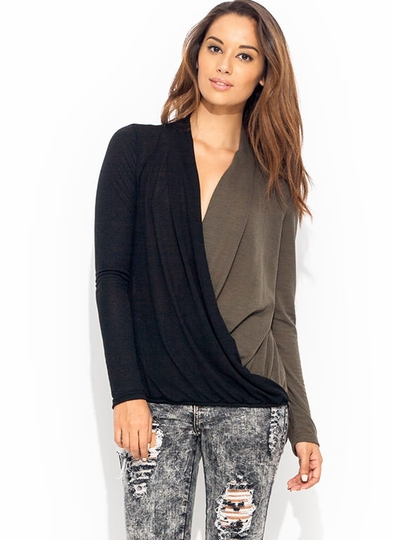 Contrast Draped Surplice Top