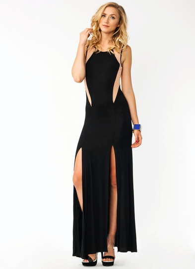 Contrast Mesh Inset Maxi Dress