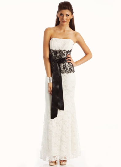 Contrasting Lace Strapless Formal