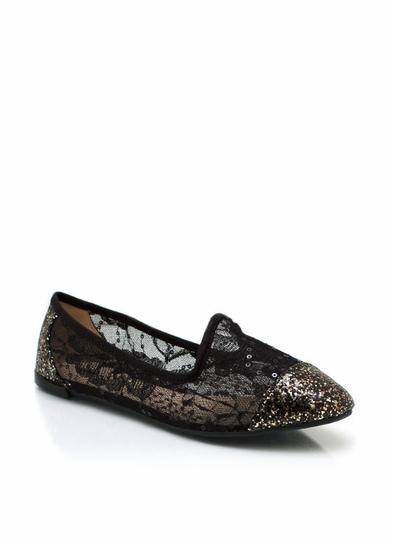 Cover Me In Glitter And Lace Loafers
