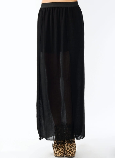 Crinkled Georgette Wrap Maxi Skirt