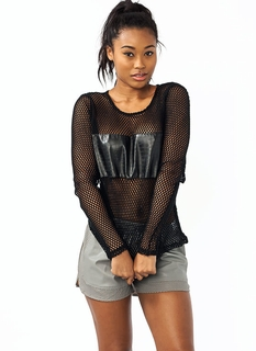 Croc In A Net Faux Leather Top