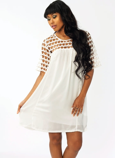 Crochet Accent Shift Dress