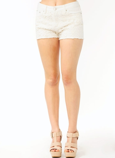 Crochet Flower Denim Shorts