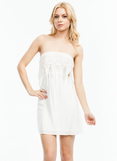 Crochet There Strapless Dress