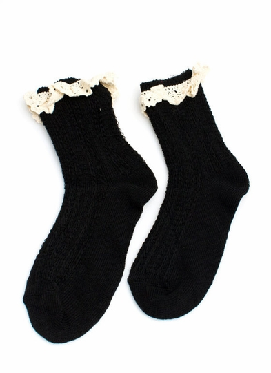 Crochet Trimmed Ankle Socks