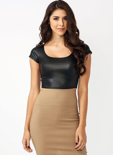 Crop Culture Faux Leather Top