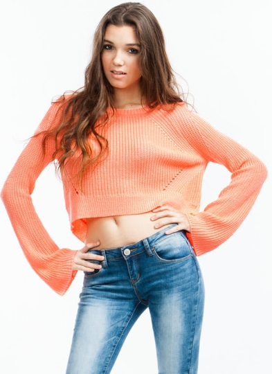 Cropped High-Low Sweater