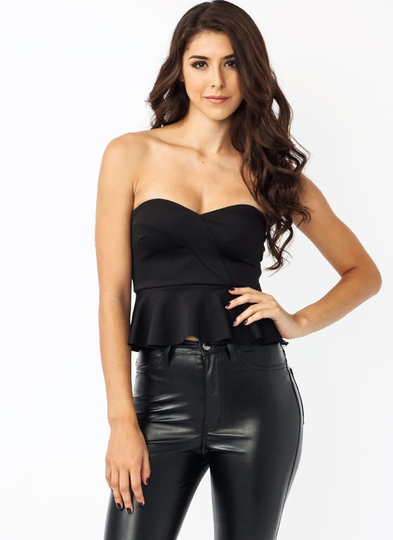 Cropped Peplum Sweetheart Top
