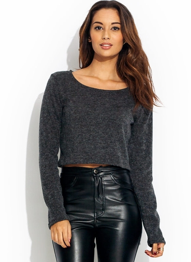 Cropped Scoop Neck Sweater