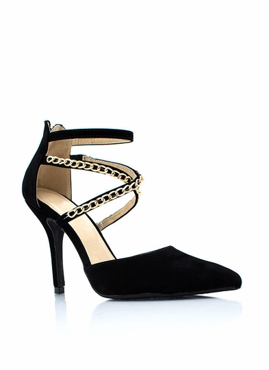 Cross-Chaining Strappy Pointy Heels