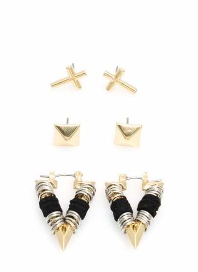 Cross It Earring Set