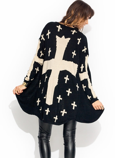 Cross It Out Oversized Knit Cardigan