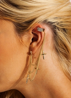 Cross Over Jeweled Cuff Earring